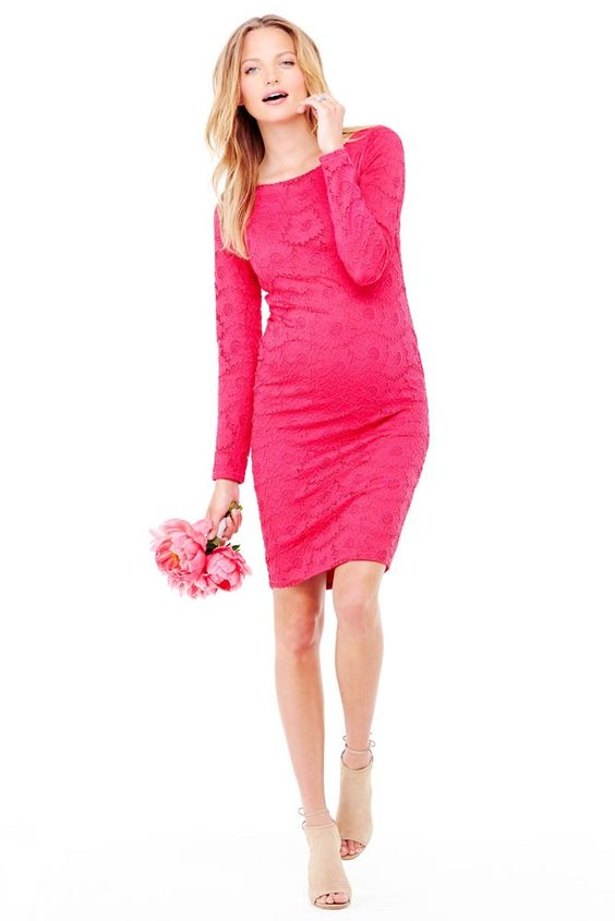 Ingrid & Isabel Boatneck Lace Maternity Dress in Berry
