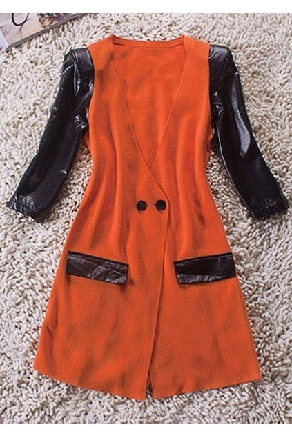 Orange V Neck Contrast PU Leather Half Sleeve Wool Coat $78.00