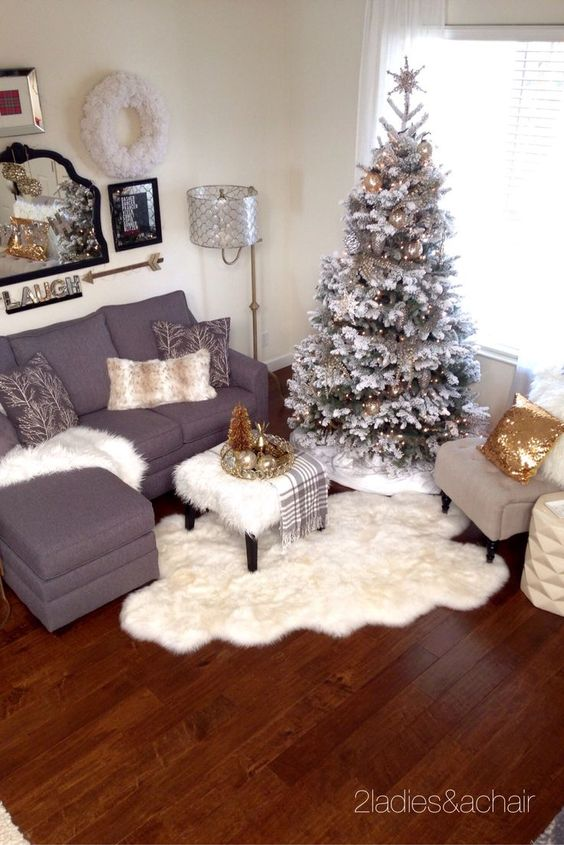 Christmas Decorating Ideas For Apartment Patio : Holiday decorating grey white and gold colors flocked