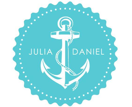 Logo für eine Hochzeit auf dem Wasser.
