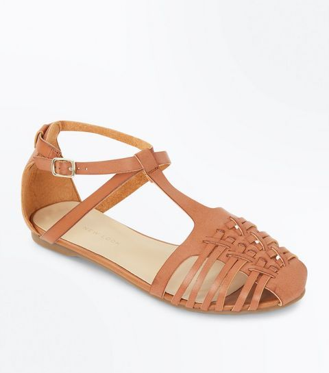 Tan Caged Flat Sandals | New Look