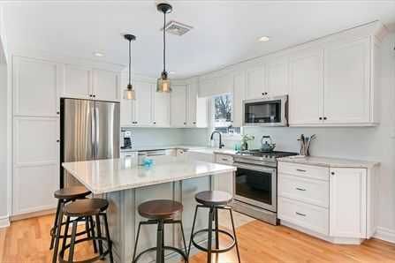 View Gallery: Cottage White and Blue Kitchen in Point Pleasant New Jersey by Design Line Kitchens.
