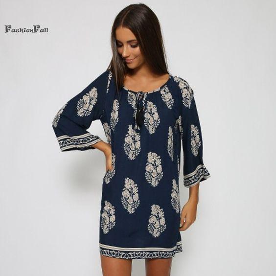 Women's Retro Vintage Style Boho Casual Loose O-Neck 3/4 Sleeve Printed Party Summer Mini Beach T Shirt Dress Robe Femme SLYP