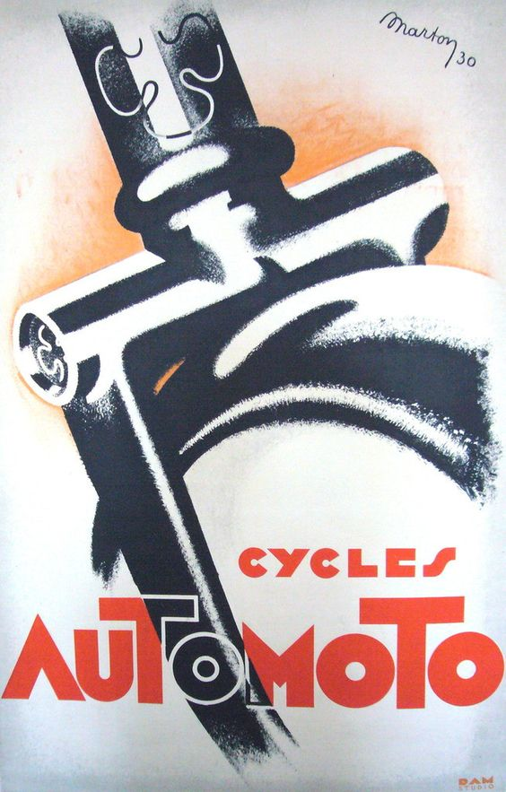 1930 Original French Art Deco Poster, Cycles Automoto - Marton #1921-1940 #art-deco #bicycle #bike #design #framed #france #french #lajos-marton #linen-backed #lithograph #motorcycles #orange #poster #red #vintage #vintage-poster