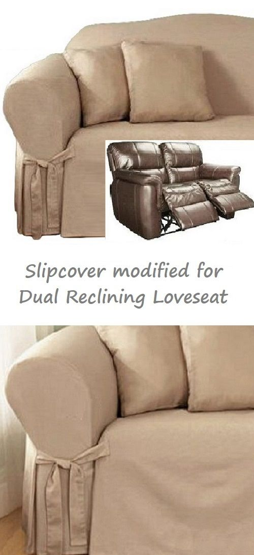 Dual Reclining Loveseat Slipcover Cotton Taupe Sure Fit 2 Seater