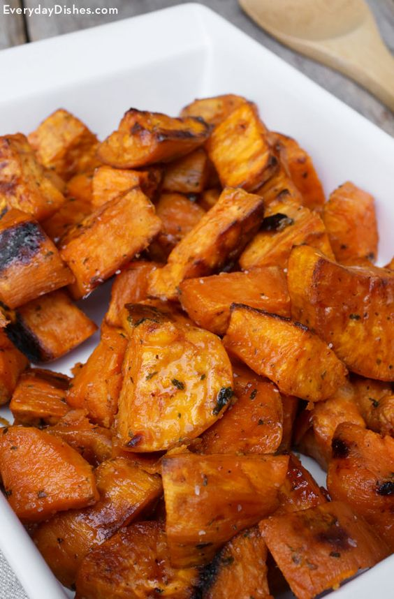 Maple-Roasted Sweet Potatoes | Recipe | Sweet Potato Recipes, Potato ...