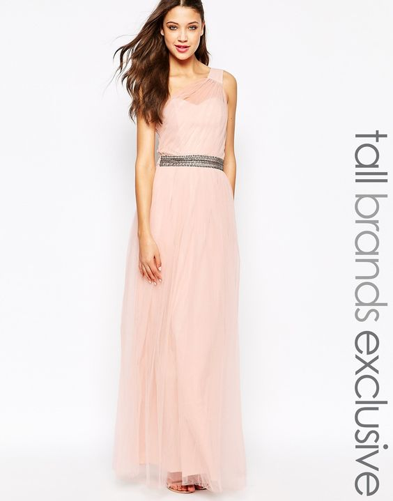 Image 1 of Little Mistress Tall One Shoulder Maxi Tulle Dress