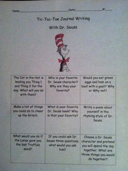 This activity consists of nine different Dr. Seuss journal prompts in a tic-tac-toe format. Children can choose their three favorite prompts and write about them!