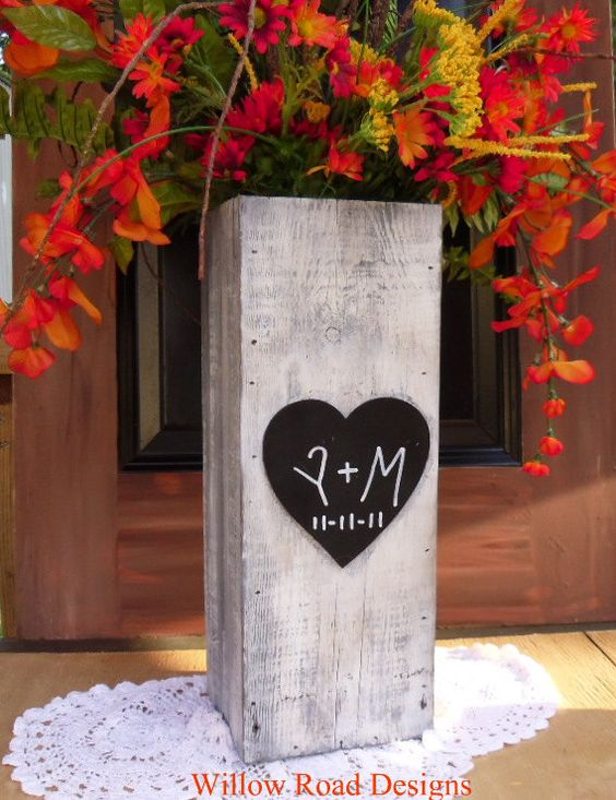 Personalized OLD Barnwood  Rustic Wood Vase by willowroaddesigns, $40.00