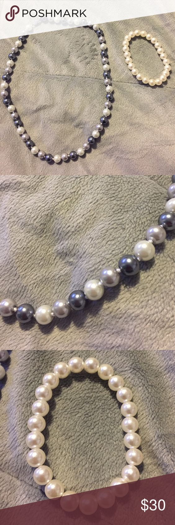 Gray silver white pearl necklace & white bracelet Gray silver white pearl necklace & white bracelet Jewelry Necklaces