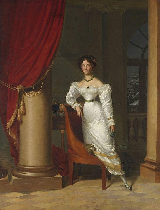 Porträt einer jungen Dame im Salon. Early 19th century:
