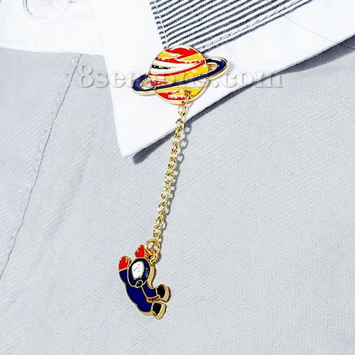 Wholesale Fashion Jewelry Brooches Planet Gold Plated Spaceman Multicolor Enamel – 8seasons.com