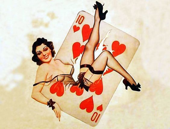 Pin ups with cards. Tender hearts ten.