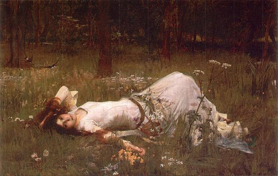 John William WaterhouseWaterhouse depicts Ophelia lying in a riverside meadow in an attitude of deranged abandon, one hand in her tousled hair, the other grasping flowers. This painting was auctioned at Sotheby's, London in November 2001. Prior to this auction this painting has only been known to us in black & white. Waterhouse kept the painting in his studio for his entire life and made several alterations to it over the years.