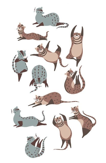 Civets doing yoga for CUPPA in Sheffield by Jenna Lee Alldread