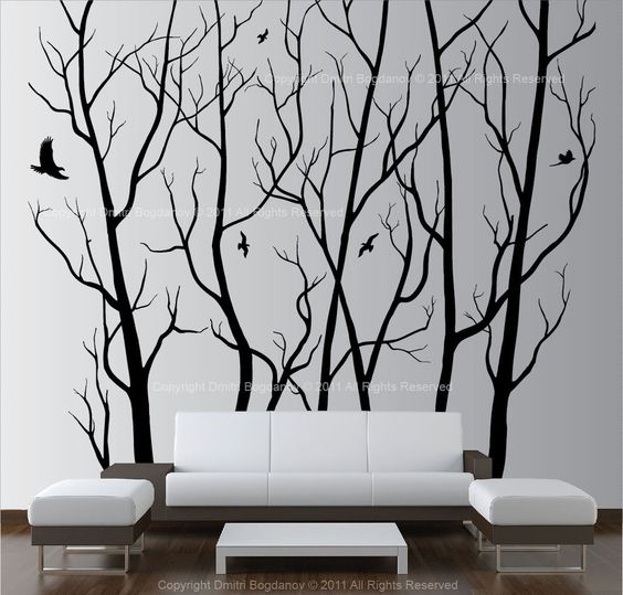 Large Wall Art Decor Vinyl Tree Forest Decal Sticker (choose size and color) in Home & Garden, Home Décor, Decals, Stickers & Vinyl Art   eBay