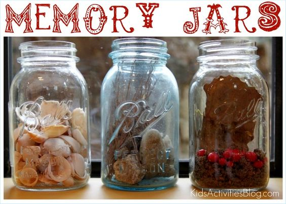 Creating memory jars from special moments - great kids activity