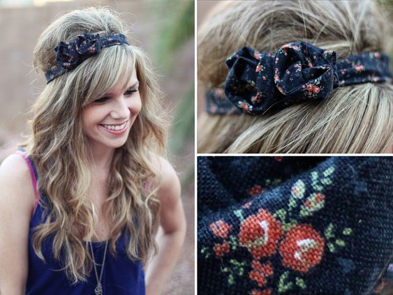 Easy to make Headband- make a long tube and put wire in it and sew!