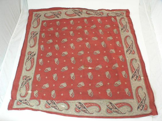 "Great Looking Vintage Faded Paisley  Bandana 21"" x 23"""