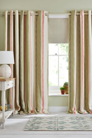 Buy Green And Coral Multi Woven Stripe Eyelet Curtains From The Next UK Online Shop