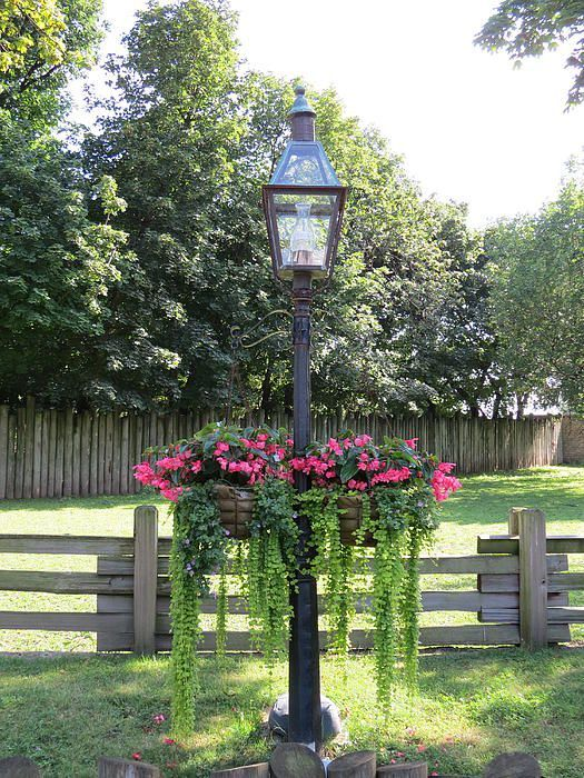 Old Fashion Lamp Post With Hanging Flowers by Elisabeth Ann
