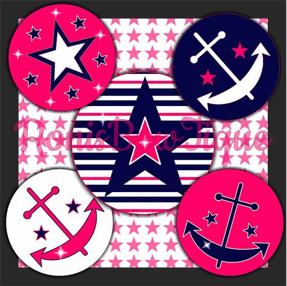 INSTANT DOWNLOAD 18 Pink Blue Nautical Anchor Stars Stripes 4x6 Bottle Cap DIGITAL Images Hair Bow Center Button Images