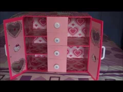 Organizador para implementos de manicure hecho de cart n - Como hacer un organizador de zapatos casero ...