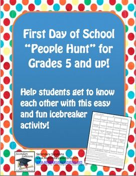 """FREE First Day of School Icebreaker """"People Hunt"""" for grades 5 and up!"""