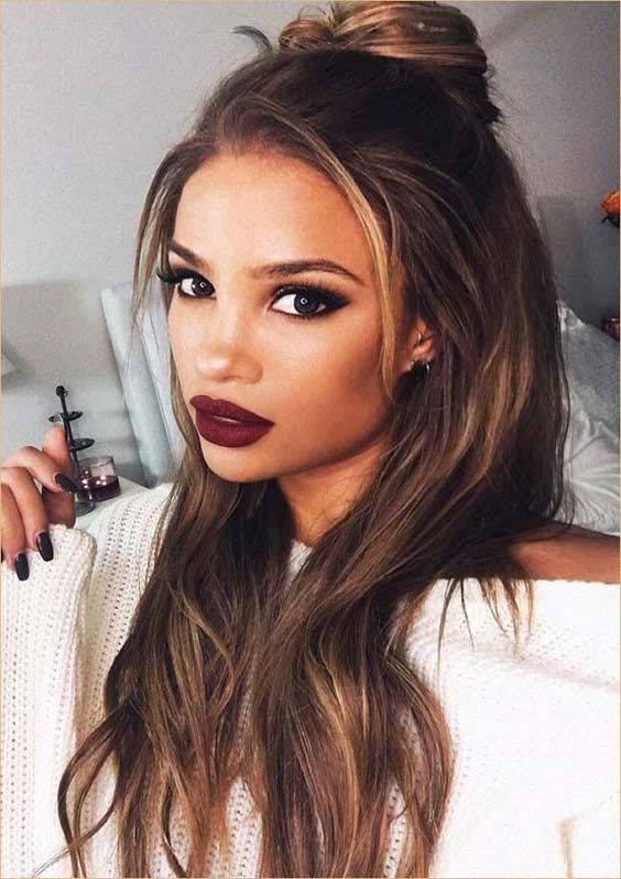 30 Best Long Straight Hairstyles With Top Bun In 2018 Hair Styles Long Hair Trends Easy Hairstyles For Long Hair