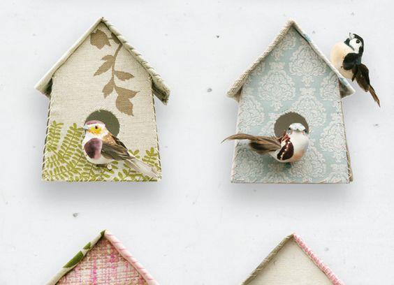 Echte vogelhuisjes zelf maken met stof of behang