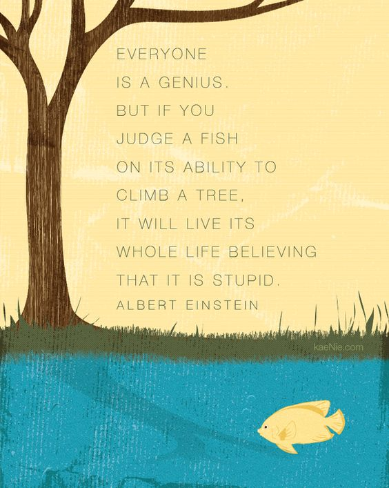 Everyone is a genius. But if you judge a fish on its ability to climb a tree, it will live its whole life thinking it is stupid. Albert Einstein