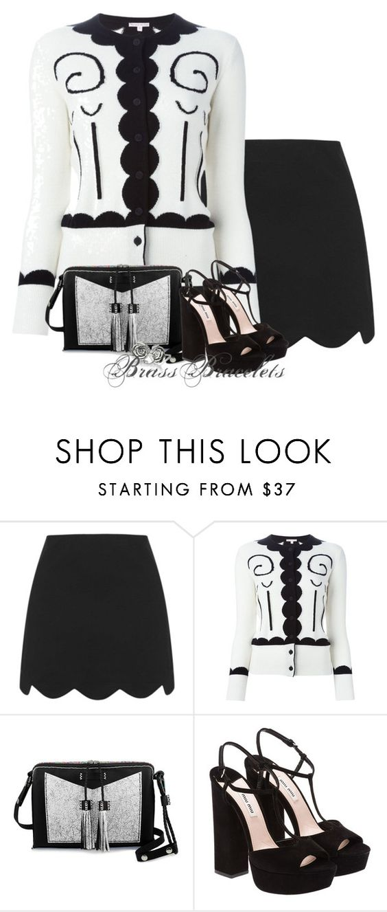 """Untitled #5501"" by brassbracelets ❤ liked on Polyvore featuring Topshop, Olympia Le-Tan, Carianne Moore, Miu Miu and Chamilia"