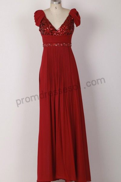 Claret Cap-sleeve V-neck Sequins Chiffon Formal Evening Dress WL999