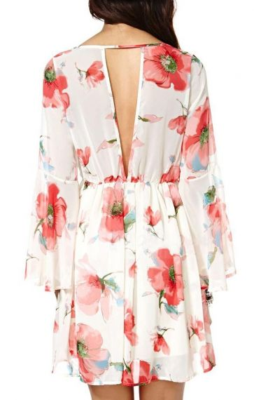 V-neck Long Sleeves Deep V-back Floral Dress