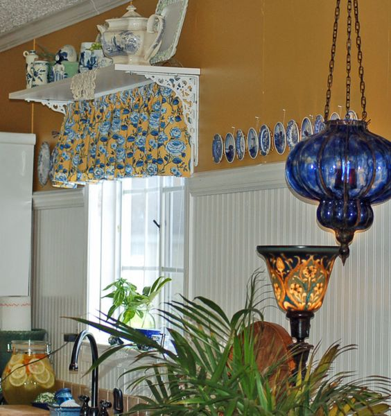 Yellow kitchen designs and lamps on pinterest for Yellow blue kitchen ideas