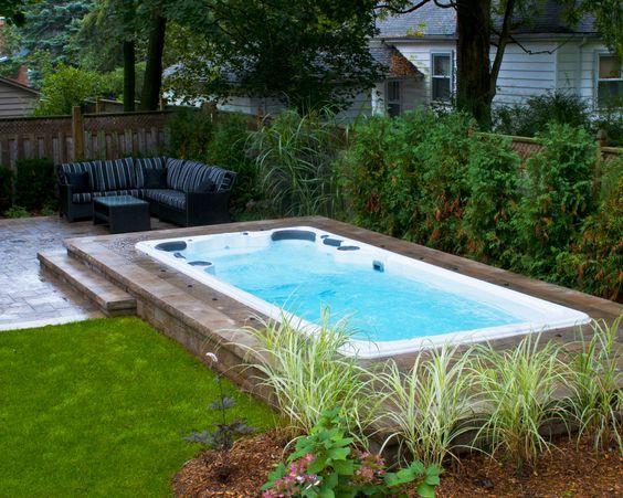 Pin By Sarah Leversee On Backyard Ideas Swim Spa Landscaping Inground Hot Tub Backyard Spa