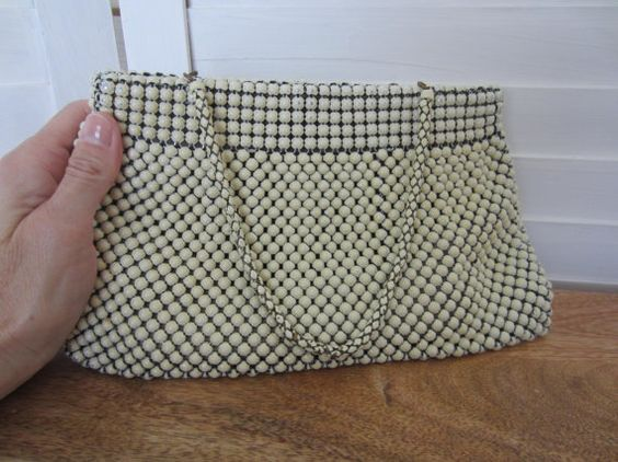 Purse, Handbag by Whiting & Davis from 50s or 60s, Off-White Beaded