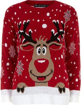 Mela Pull rouge à motif renne de Noël sur shopstyle.fr