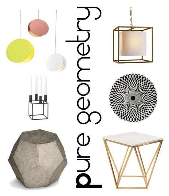 """Geometry furniture, lighting and decoration. Concrete coffee table, metal side table, pendant lights."" by inroom on Polyvore featuring interior, interiors, interior design, дом, home decor, interior decorating, Noir, Williams-Sonoma, Nuevo и By Lassen"