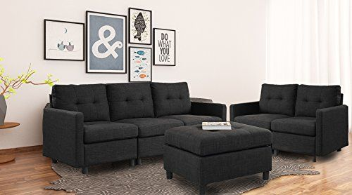 Dazone 6 Piece Sectional Sofa Couch With Ottoman Living Room