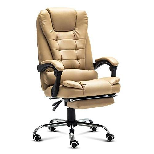 Wxf Office Chairs Ergonomic Executive Extra Padded High Back Tilt Reclining Faux Leather Desk Computer With Arms Footrest Loun Leather Desk Chair Office Chair