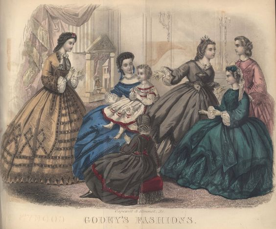 civil.war+dress | Civil War Era Fashion Plate - October 1863 Godey's Lady's Book: