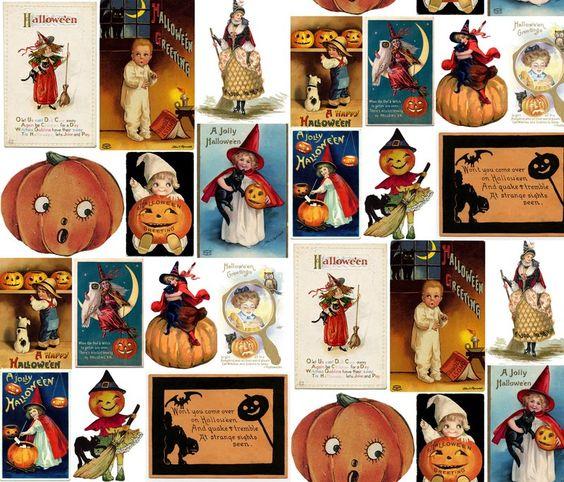 designs – Spoonflower Vintage Halloween Cards