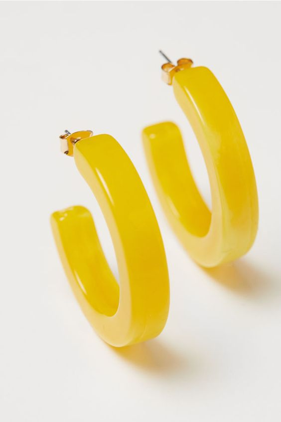 Hoop earrings - Light yellow - Ladies | H&M US 1