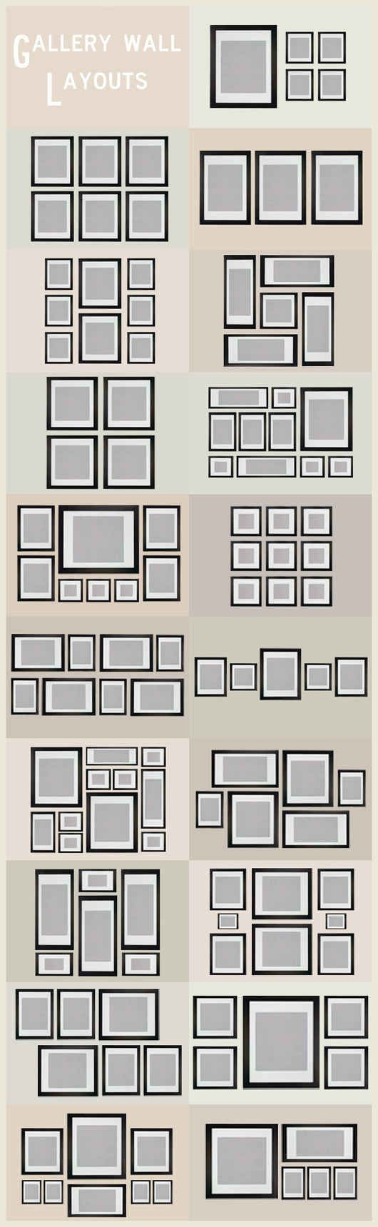 Gallery Wall Layout Ideas - Infographic found on Hello Lovely