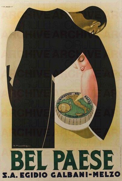 Vintage Italian Posters - Italy. Bel Paese Galbani ad, 1932
