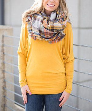 Look at this #zulilyfind! Olivia & Jane Mustard Dolman-Sleeve Top by Olivia & Jane #zulilyfinds