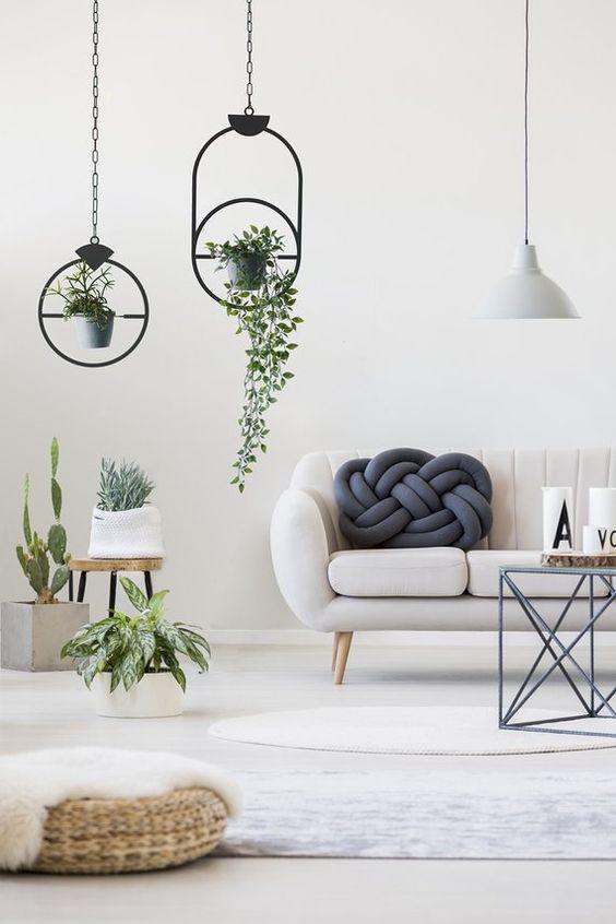 Plant Hanger, Metal Design, Black Hanging Decor,Bohemian Home Décor, Metal Home Decor, Set of 2, Scandinavian Decor,  House Warming Gift