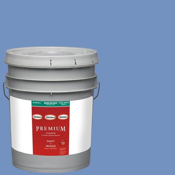 Glidden Premium 5-gal. #HDGV27 Pure Periwinkle Semi-Gloss Latex Interior Paint with Primer