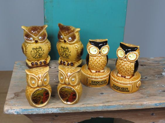Owl Salt and Pepper Shakers . 3 Vintage Sets . Kitschy Googly Eyed Owls . Ceramic Souvenirs . Nashville . Grand Canyon .  Sequoia Kings